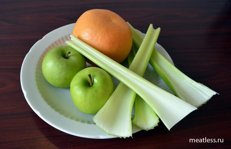 Свежевыжатый фреш - сельдерей, яблоки, грейпфтрут - ингредиенты